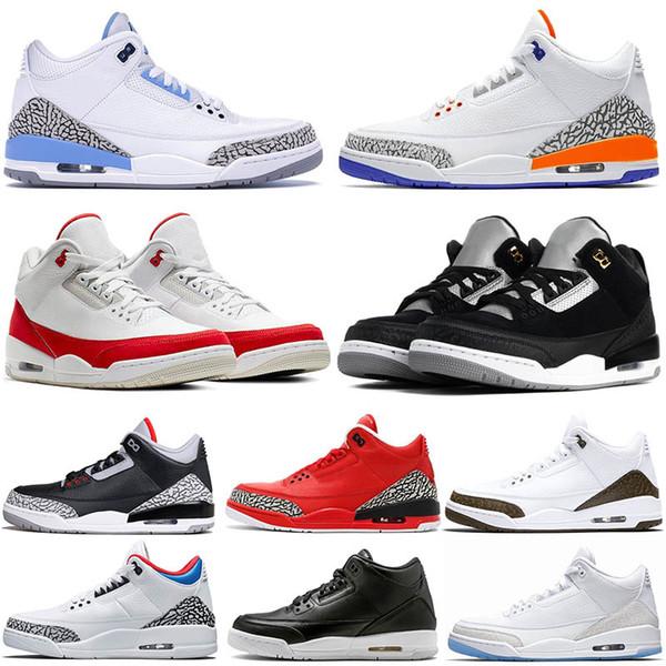 Nike Air Jordan Retro 3 AIR JUMPMAN NOIR CIMENT 3M Réfléchissant Static Hommes Chaussures de Basketball UNC PE Moka Rouge Knicks Rivals Rouge Hommes Baskets US 7-13