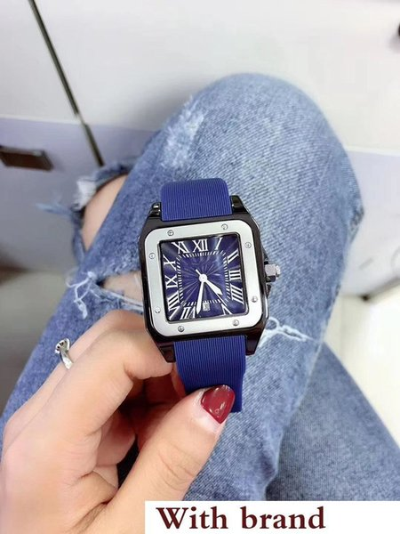 Hot Sale Quartz Movement Men Watch Blue Square Dial Rubber Band Free Shipping