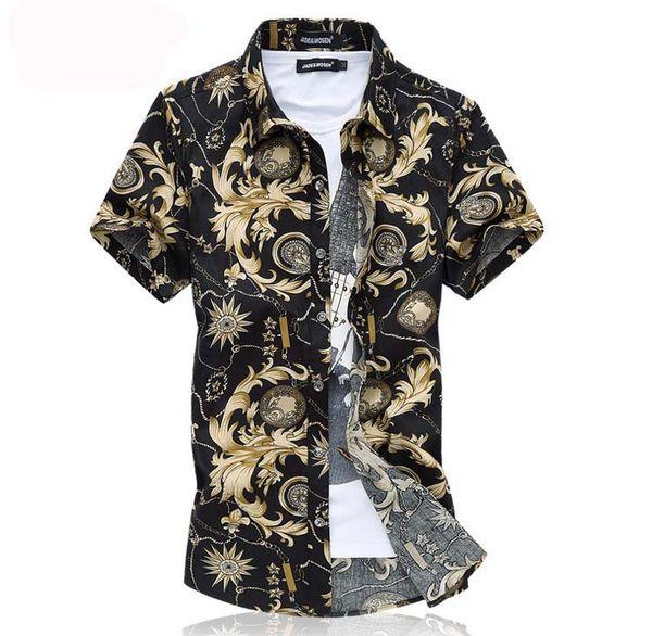 2019 free shipping Style Shirt Men Short Sleeve 6XL Plus Size medusa Shirt Camisa Marcas Beach Wear Man Clothing Floral Shirt For Male 2016