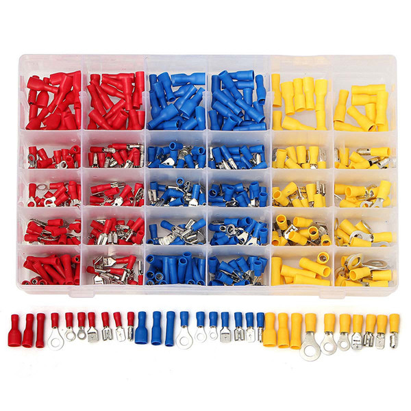 best selling Electrical Wiring Crimp Connectors, 480pcs Insulated Electrical Connectors Set Includes Ring Bullet Spade Butt Splice and Piggy Back