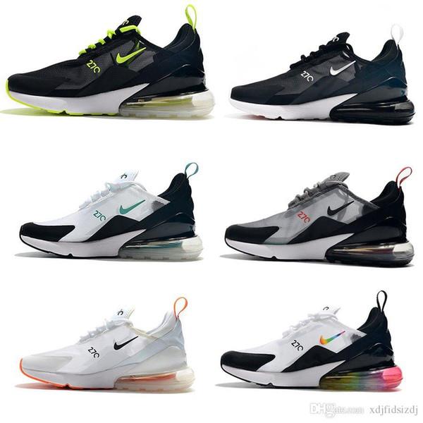 2019 Atletik 27 Eğitmenler Erkekler Hava Gökkuşağı Yeni Tasarımcılar Sneakers Erkek Yürüyüş Spor 270 s Siyah Beyaz 27c Max 2018 Kadın Koşu Ayakkabıları