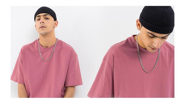 19ss весна и лето новая мужская одежда сплошной цвет основной мужской дикий случайные мужские рубашки мужские футболки дизайнер с короткими рукавами футболки