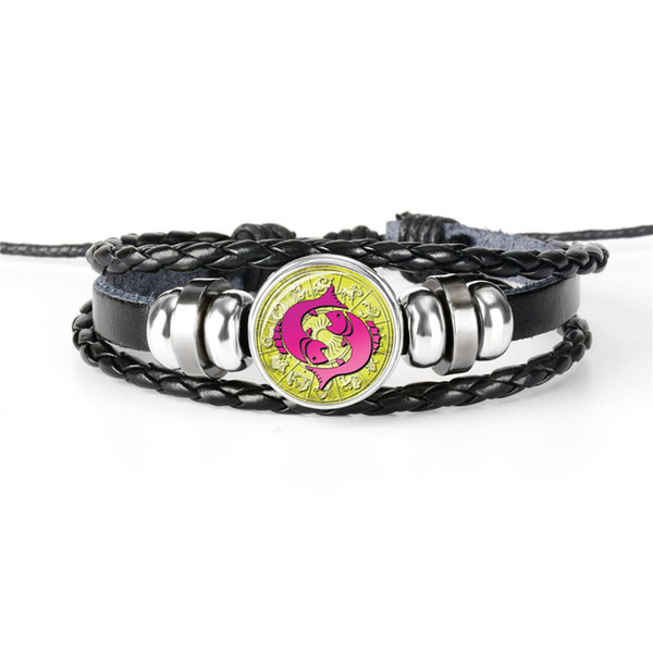 Multilayer Genuine Leather Rope Beaded Bracelet for Mens Womens Design 12 Horoscope Zodiac Pisces Time Gem Glass Cabochon Charm Jewelry Gift