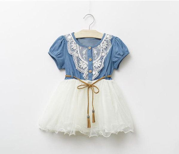 Wholesale-Summer kids clothing children's dresses girl lace dress princess dresses girl denim dress 5p/l