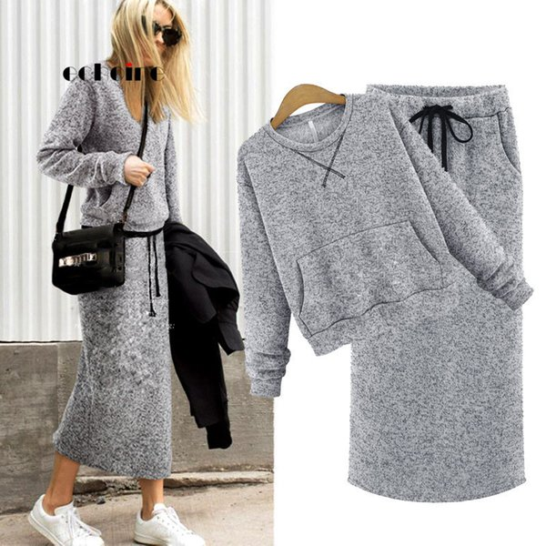Echoine Two Piece Set Women Cashmere Hoodie Tops Pockets Gray Casual Calf-Length Skirt Lace Up Maxi Dress Suit Female Outwear Y190923