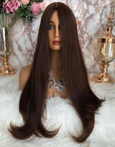 Kosher Perucas 12A Cabelo Grade Brown Color # 4 Finest Europeia Virgin Silky cabelo humano 4x4 Hetero envio Silk base Topo judaica peruca grátis