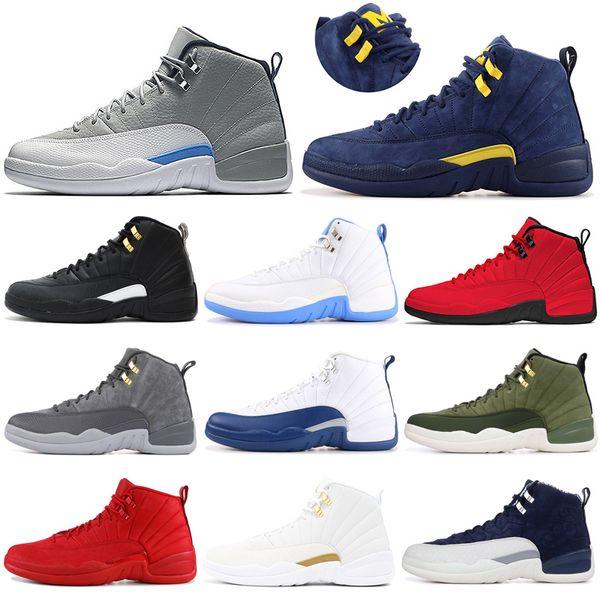 Remise 12 12s Chaussure De Basket-ball Hommes Bottes Extérieur Gym Rouge Blanc Gym Rouge Michigan TAXI Entraîneur De Sport Baskets Taille 7-13 Rree Shipping