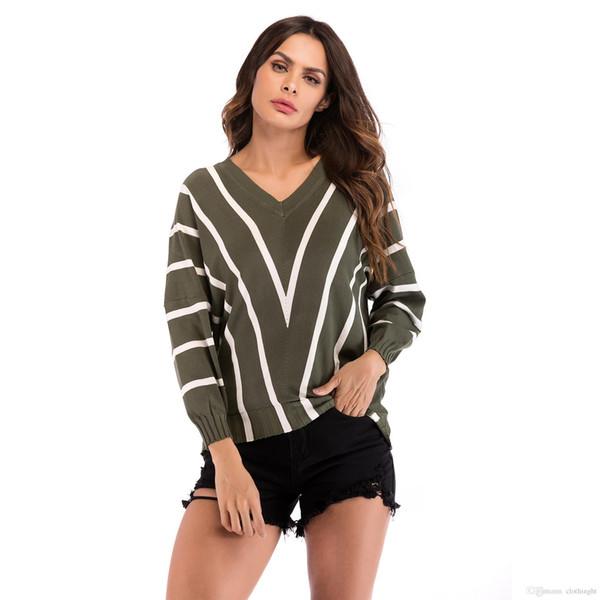 Suéteres y suéteres de mujer 2018 Primavera Otoño nuevos suéteres para mujer suéter de punto suelto con cuello en v tops jerseys