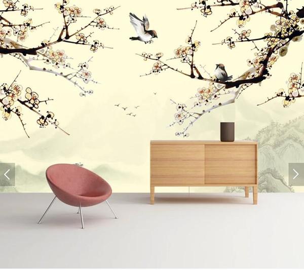 Papier peint personnalisé pour oiseaux, peinture murale chinoise pour oiseaux et fleurs pour le salon chambre canapé fond mur décoration de la maison papel de parede