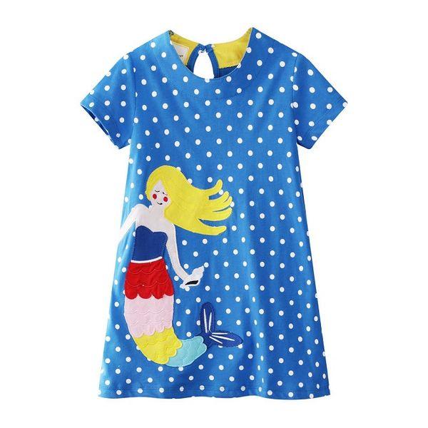 2019 Mermaid Unicorn Designer Dresses for girl Short sleeve Children clothes Striped Sweet dress Summer 100% COTTON Wholesale