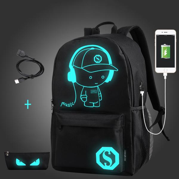 Designer- School Backpack Anime Luminous USB Charge Laptop knapsack Computer Backpack For Teenager Anti-theft Boys Designer School Bag