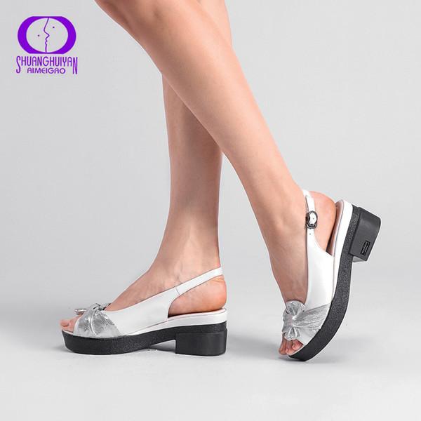 AIMEIGAO Yaz Takozlar platformu Kadın Sandalet Kare Kalın Topuk PU deri Ayakkabı Kadınlar Için Yumuşak Alt Karışık Renkler Ayakkabı