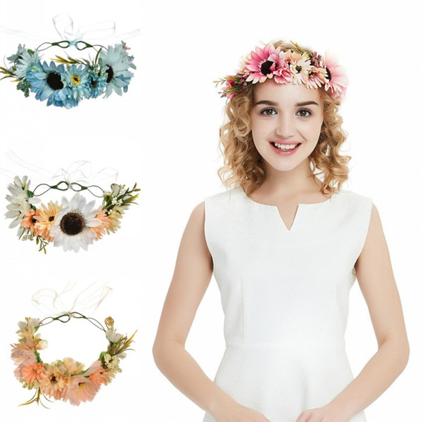 Handmade Pink Flower Hair Wreath For Wedding Prom Pearls Bridal Headband Hair Accessories Jewelry Women Headpiece CPA1894