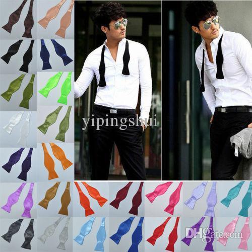 Großhandel-Gute NiceNew Mens Solid Color Plain Silk Self Tie Bow Ties