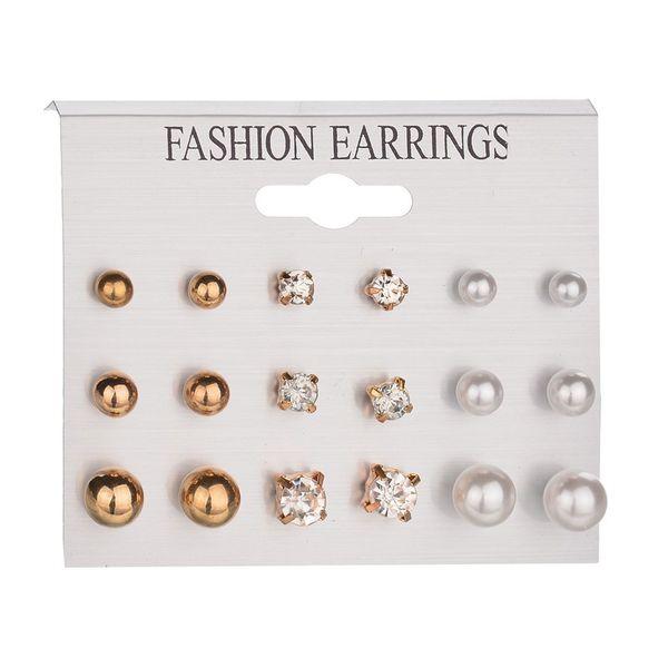 9 paia di orecchini a bottone in cristallo e perle orecchino per donna per le donne