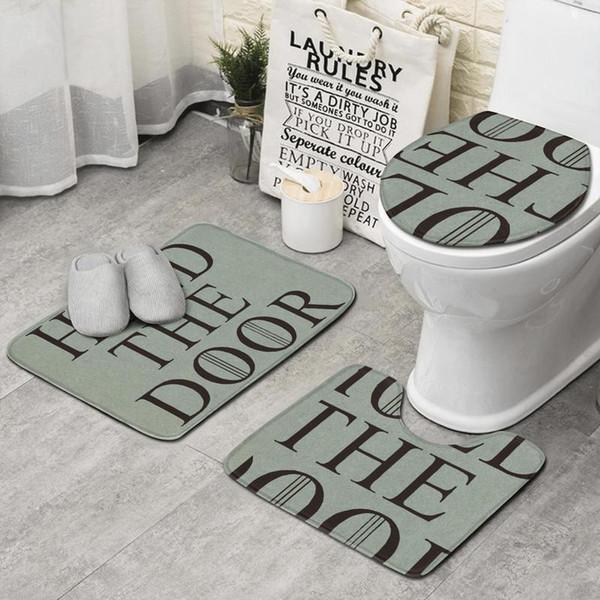 Halten Sie die Tür schwarz 3-teiliges Set Badezimmer, rutschfeste Teppichmatte beste lange Bad Badezimmer Teppich