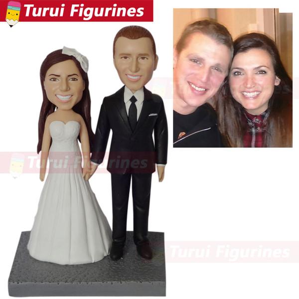 photo personnalisé cadeau photo aux figurines gâteau de mariage toppper bobblehead figurines poupées décorations pour la maison statuette à partir de photos
