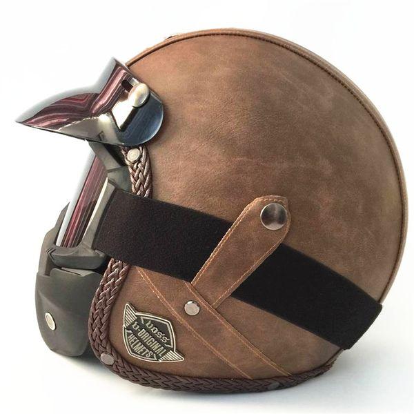 HOT sale Open Face Half PU Leather Helmet Moto Motorcycle Helmets vintage Motorbike Headgear Casque Casco For Harley helmet T