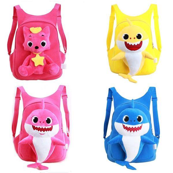 Baby Shark 3D Kids Backpack Cute Girls Boys Shoulder-bags Cartoon School Bag Adjustable Strap Pink Rose Yellow Blue 30*24*9cm New A32609
