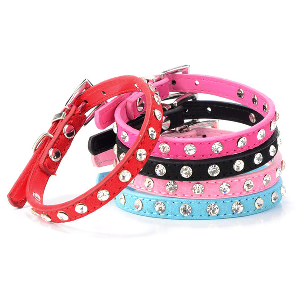 Colorful Cute Crystal Rhinestones Pet Dog Soft Suede Glitter PU Leather Puppy Collar Necklace Sturdy texture