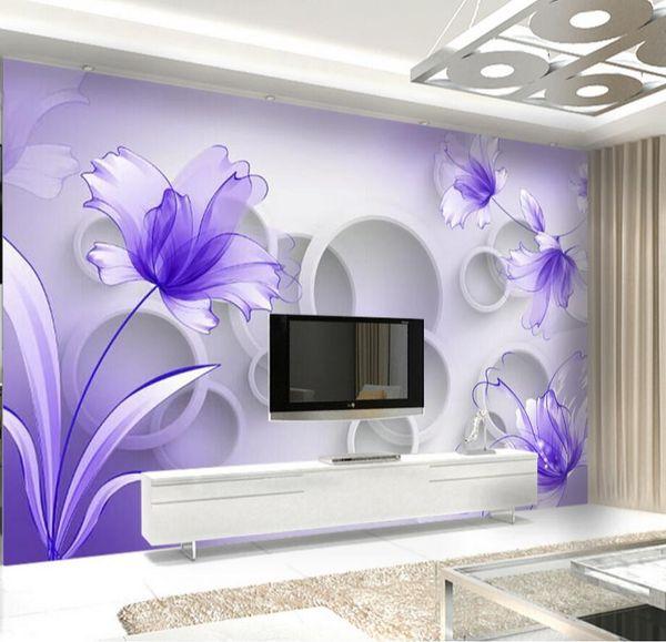 Carta da parati fiore viola Carta da parati 3D per camera da letto TV Sfondo Wall Art Decor Stampa carta fotografica Papier Peint 3d floreale