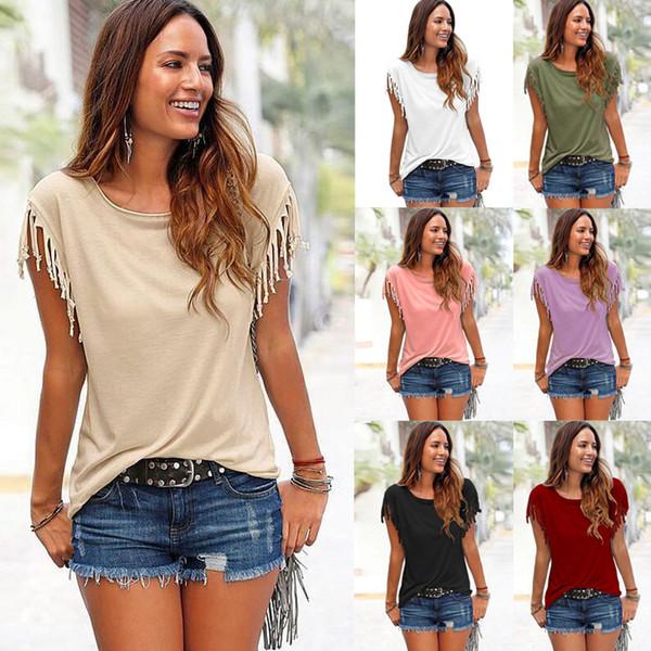 2019 été designer fille T-shirt vêtements à manches courtes gland T-shirt femme gros couleur unie femme T-shirt
