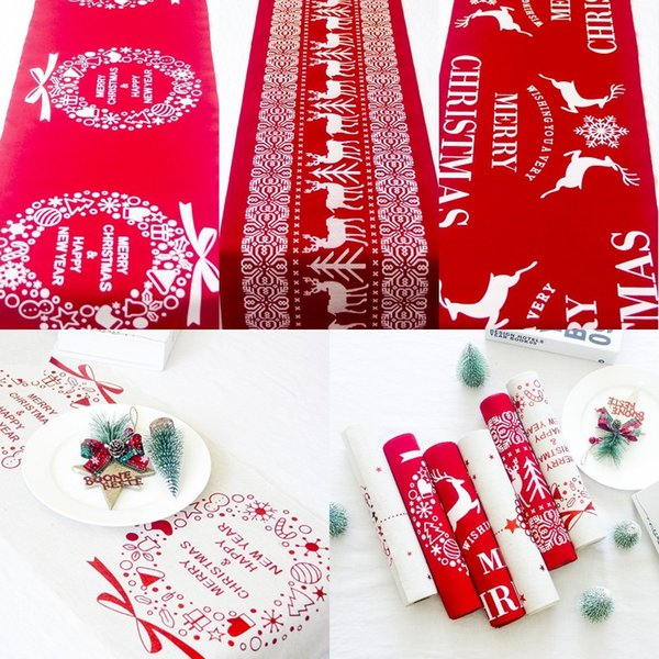 top popular Christmas Cotton Tablecloth Snowflake Elk Printed Tablecloth Red White Cartoon Table Runner Xmas Household Desktop Decoration 2021