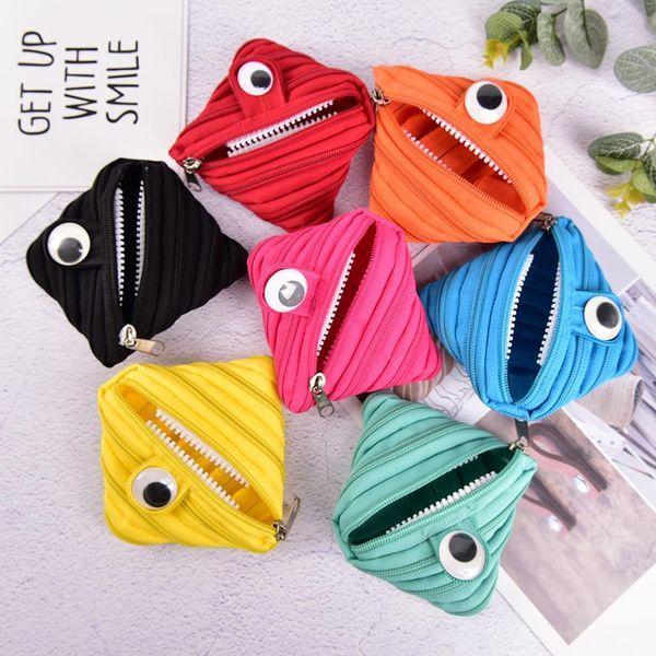 Zipper Purse Coin Fashion One-eyed Monster Zipper Bag Cute Mini Headset Accept Card Holder Wallet Key Bag