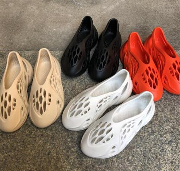 best selling Men Women Slides Hole Shoes Slippers Foam Rnner Slide Bone Earth Brown Resin Bone Desert Sand Triple Black Kids Slides Beach Runner 36-45