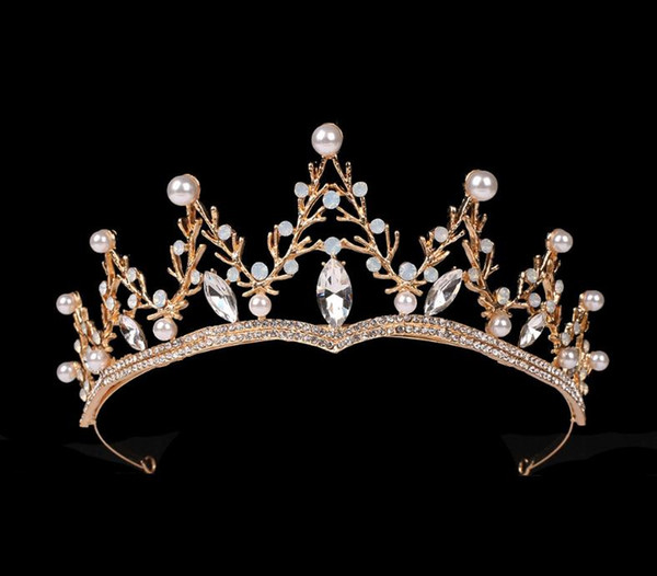 Bride Headdress Baroque Beautiful Crown Bride Shallow Gold Crown Wedding Dress Accessories Crown Hair Ornaments
