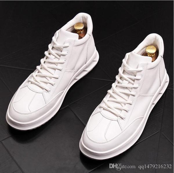 Scarpe da uomo traspiranti alte per aiutare le piccole scarpe bianche scarpe da uomo da uomo hip hop marea stivali fondo spesso