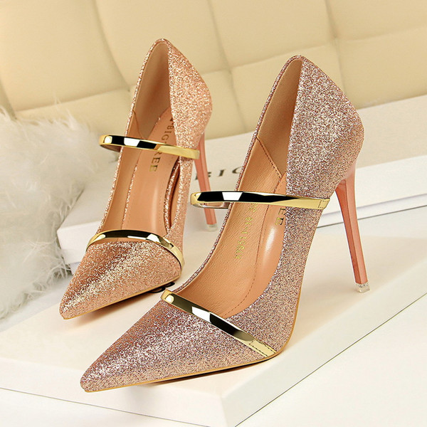 Shining designer sequins wedding party shoes bridesmaid dress shoes pointed shallow pink 10.5cm stiletto heel pumps 9511-19