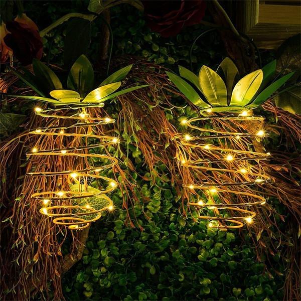 Ananas Energie Solaire Lampe De Jardin En Fil De Cuivre Lumière LED Extérieur Art De Fer Art Télescopique Étanche Mentionnant Hangable Creative 25ftf1
