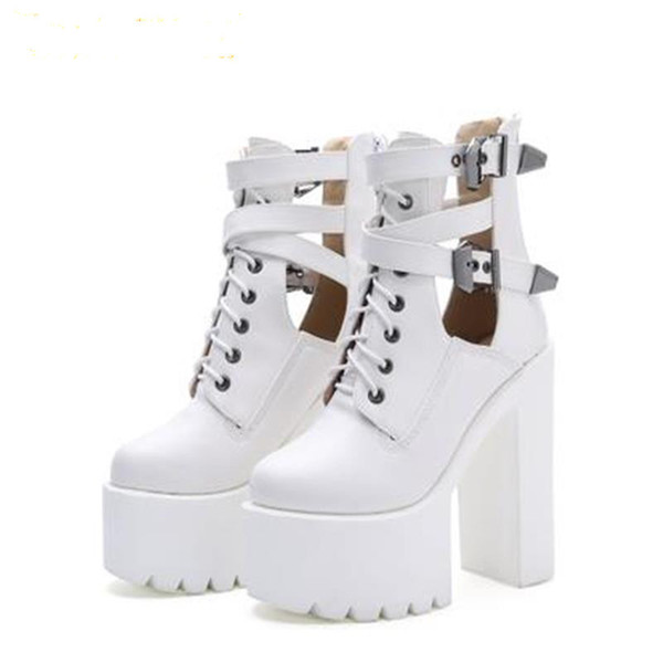 2019 Fashion Women Gothic Boots Lace Up Ankle Boots Patchwork Platform Punk Shoes Ultra Very High Heel Bootie Block Chunky Heel