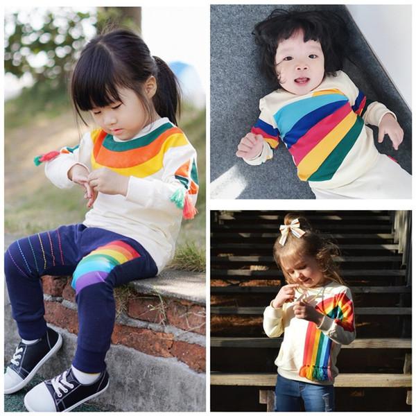 Suéter para niños Ropa para bebés Niños Niñas Sudadera con capucha Rainbow Sun Borlas impresas Camisetas de manga larga Ropa para niños Q445