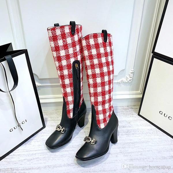 Diz 16 inç Fazla Yeni Europ Stil Moda Lüks Bayan Boots Gerçek Dikiş Kumaş Sonbahar Kabartmalı Deri Çizme Düz dipli Com