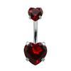 9 Colors Double Heart Zicron Stainless Steel Jewelry Navel Bars Silver Belly Button Ring Navel Body Piercing Jewelry