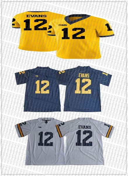 Cheap wholesale Chris Evans Jersey #12 Michigan Wolverines Football Jersey Stitched high quality