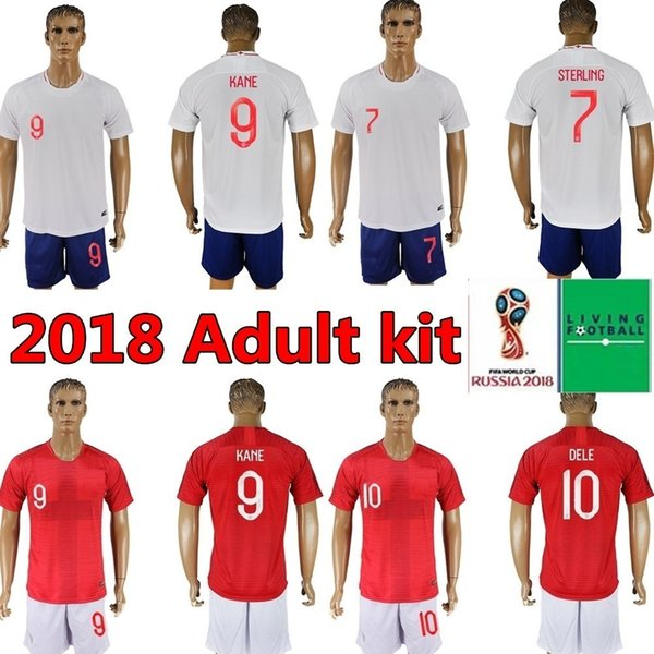 Maglia da calcio adulto kit 2018 Inghilterra ROONEY STERLING VARDY KANE DELE KIT ADULTI SHORTS CALZE JERSEY HOME AWAY CAMICIA ROSSA CAMICIE
