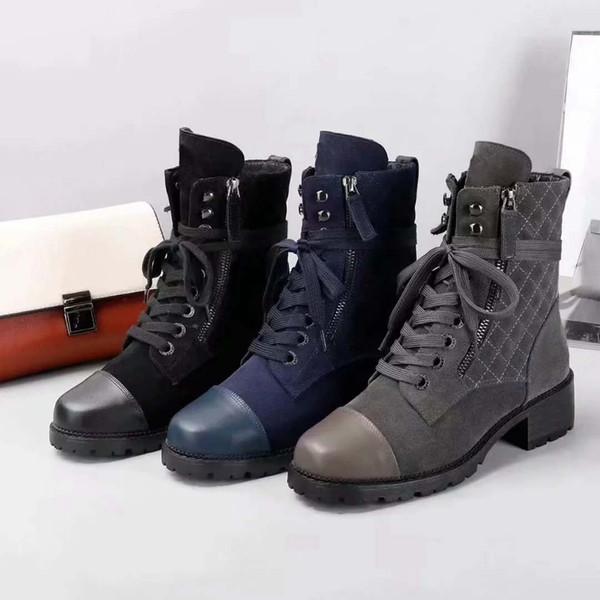 bag06 / Botas de marca de mulher de couro Real de melhor qualidade Sapatos Ankle Boots Martin Botas Moda boot lace-up shoes Eu: 35-41 Com caixa Livre DHL 01