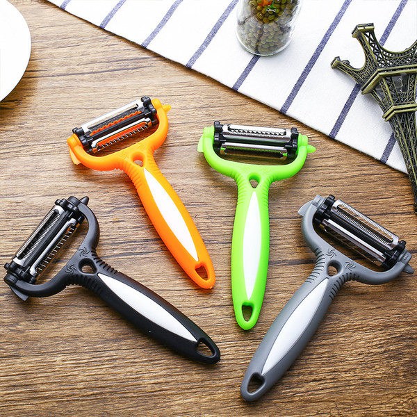 top popular Multifunction 4 in 1 Rotary Peeler Tools 360 Degree Carrot Potato Orange Opener Vegetable Fruit Slicer Cutter Kitchen Accessories DBC BH3492 2021