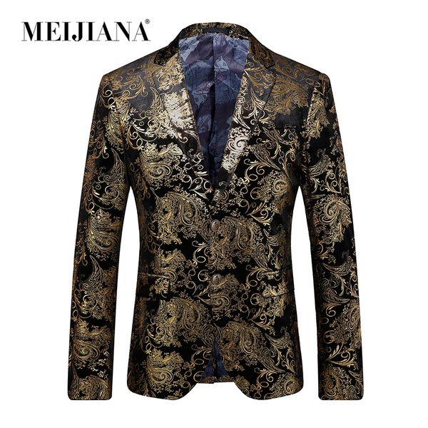 Men Suit Sale Hot Wedding Party Gold Luxury Blazer Men Dress MEIJIANA Fashion Jacket 2018 Single Suit breasted