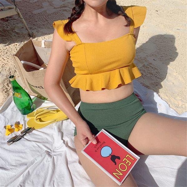 Hohe Taille Bikini Frauen Feste Badebekleidung Korea Stil Badeanzug Rüschen Biquini Crop Top Bikinis Push Up Badeanzug Gelb Gepolstert Y19072601