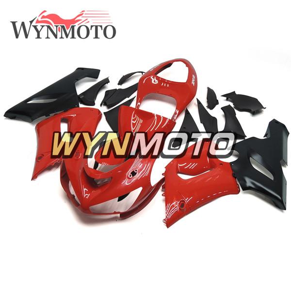 Brillante Rojo Negro Motocicleta Inyección Carenados completos para Kawasaki ZX6R 05 06 ZX-6R Ninja 2005 2006 ZX-6R 05 06 ABS Cubiertas de carrocería plástica