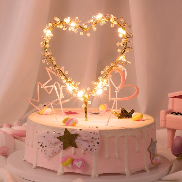 Novo 1 Pcs Forma Do Coração LEVOU Bolo De Coco Da Pérola Toppers Do Bebê Feliz Aniversário Cupcakes Partido Ferramenta de Decoração Do Bolo