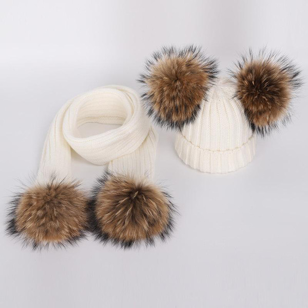 Winter Infant Toddler Baby Boys Girls Fur Pom Pom Ball Knitted Warm Beanie Cap scarves suit Ski Hat Scarf Warm Crochet Headgear Set