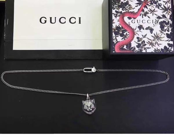925 Gümüş Kolye Tiger Baş Hip Hop Kolye Kişilik Uzun Kolye Moda Takı Noel Hediyesi
