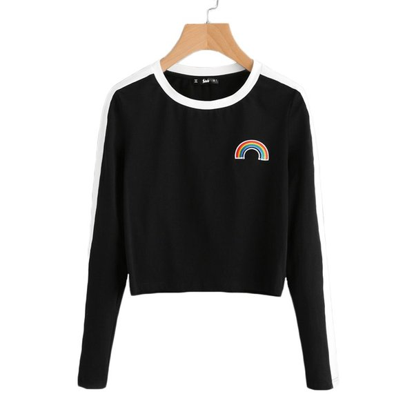 Rainbow Patch Cute T -Shirt Contrast Panel Crop Top Women Casual Color Block Tops Autumn New Long Sleeve Brief T-Shirt