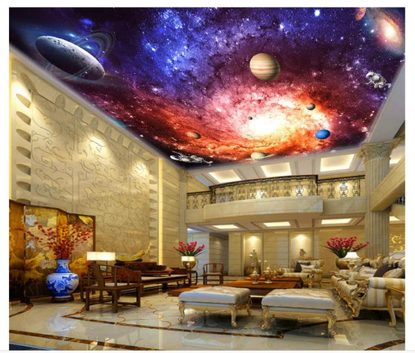 Personalizado Gran techo 3d foto papel de pared Hermoso y colorido universo de ensueño Galaxy salón hotel cenit techo mural