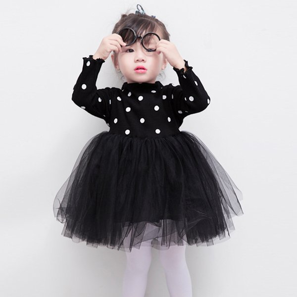 good quality 2019 Girls Knitted Ball Gown Dresses For Spring Autumn Long Sleeve Knitted Dot Princess Dress Kids Baby Clothes